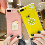 Cute 3D Fashion DIY Summer Lemon Phone Cases For IPhone 7Plus 6 6s Bright Soft TPU Silicon Back Cover For IPhone 7 Capa Coque