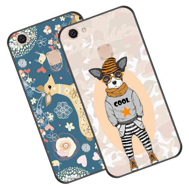 Cute Animal Silicone Case For VIVO V7 Plus / Y79 Luxury Soft Relief TPU Phone Cover Bag For VIVO V7 / Y69 Y75 Cases