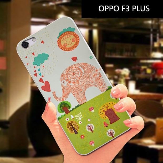 Cute Animal Soft Silicone Case For OPPO F3 / A77 SmallFresh TPU Cover Bag For OPPO F3 Plus Phone Case