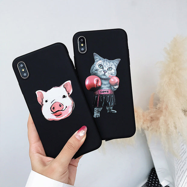 Cute Animal Boxer Cat Pig Phone Case For IPhone X 6 7 8 Plus Soft TPU Case For IPhone XS Max XR 7 Black Cover Coque Capinhas