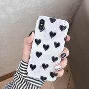 Cute Black Heart Phone Case For Iphone XS Max XR X Case For Iphone 6 6s 7 8 Plus Back Case Fashion Smooth Soft Cases Lovely Capa