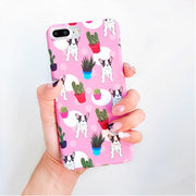Cute Cartoon Cactus Plant Painting Phone Cases For Iphone 7 Case Lovely Animal Dog Bulldog Pink Back Cover For Iphone 7Plus 6 6s