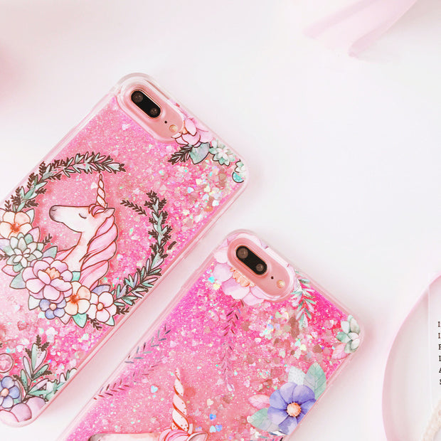 Cute Cartoon Flower Unicorn Dynamic Liquid Quicksand Pink Sequins Glitter Phone Cases For IPhone 7Plus 6 6s Crystal Cover Coque