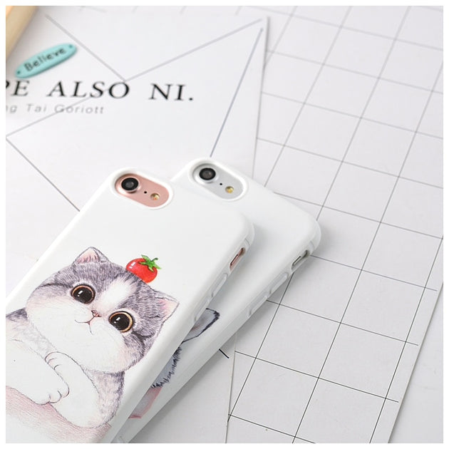 pretty nice b84a6 f0c70 Cute Cartoon Pattern Phone Cases For Apple IPhone 6 6S 7 Plus Animal Fat  Cat Husky Dog Soft Silicone Cover Case For IPhone 6Plus