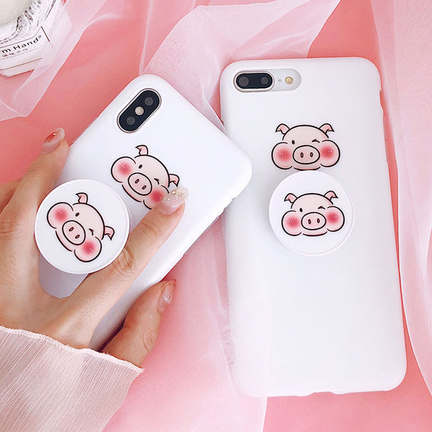 Cute Pig Pattern With Bracket For IPhone 7 7Plus Case Anti-knock Glossy Back Cover For IPhone 6 6S 8 Plus IPhone X Case
