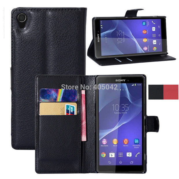 D6653 New BOOKTYPE PU Leather Wallet Flip Case Stand Cover Skin For Sony Xperia Z3 D6653 D6603