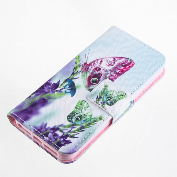 DEEVOLPO Card Slot Flip Fundas Leather For IPhone 5 5S SE 6 6S 7 8 Plus Colored Painted Covers Lotus Flowers Girl Romantic DP23Z