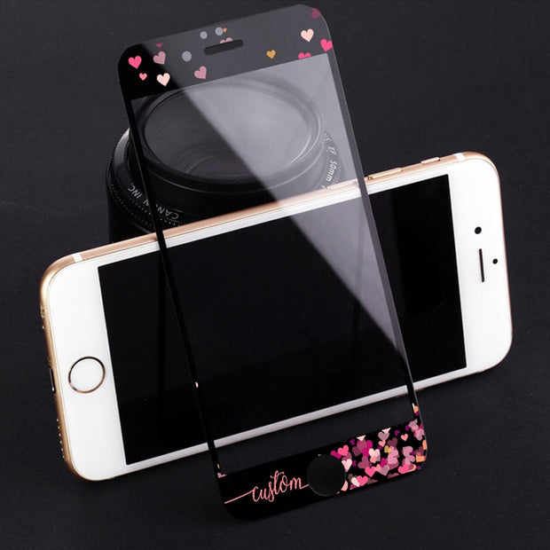 DIFFRBEAUTY DIY Name Custom Design Handwritten Lovely Hearts White Screen Protector Tempered Glass For IPhone 6 6s Plus 7 8 Plus