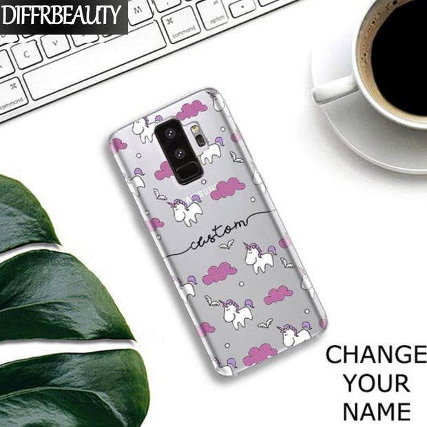 DIY Custom Floral Name Phone Case For Samsung Galaxy S6 S7 Edge S8 S9 Plus Note8 Note5 Transparent Soft Silicone Clear TPU Cover