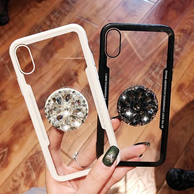 Accessori X Phon.Diamond Phone Case For Iphone X 6 6s 7 8 Plus Phone Holder Ring Air Bag Multifunction Stand And Grip Soft Tpu Hard Back Cover