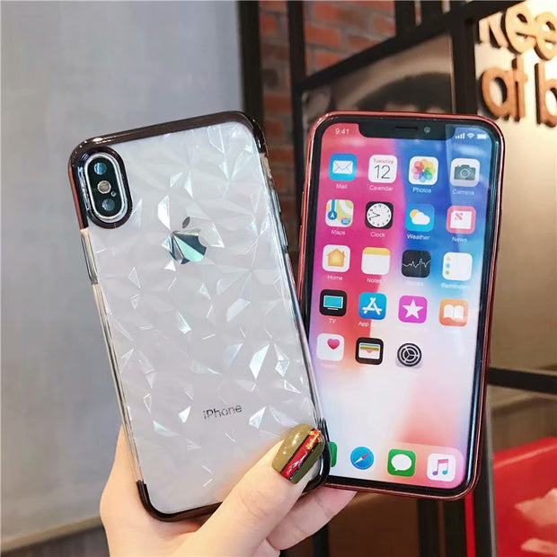 Electroplate Case For IPhone 6s 7 8 Plus Crystal Diamond Grain Tricolor Soft TPU Mobile Phone Shell For Iphone X Case Cover
