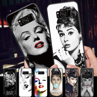 Elegant Marilyn Monroe Audrey Hepburn Pattern For Samsung Galaxy A3 A5 A8 J3 J5 J7 2015 2016 2017 2018 Black Hard Phone Case