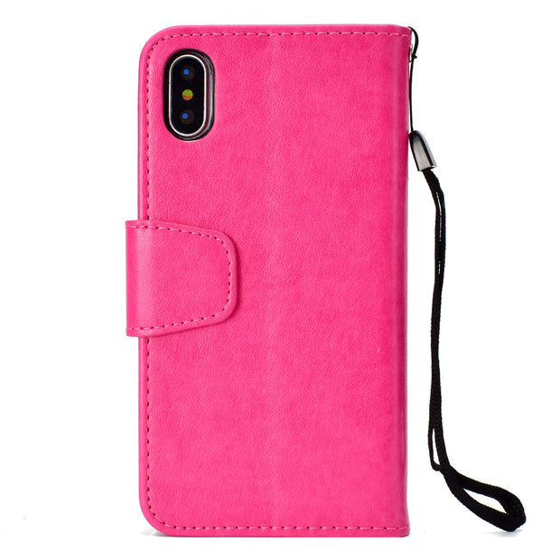 Embossed Painted Flip Leather Case For IPhone X 7 8 6 6S Plus 5 5S SE With Strap Back Phone Cover Card Money Photo Slots Holder