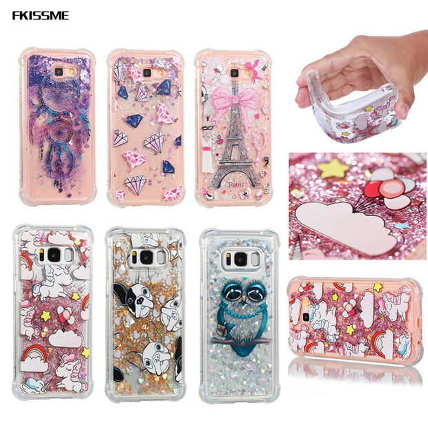 FKISSME Liquid Quicksand Glitter Case For Samsung Galaxy Note 8 S7 Edge J3 J5 J7 2016 S8 Plus A3 A5 A7 2017 Soft Clear TPU Cover