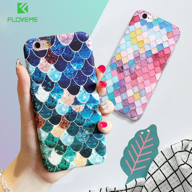 FLOVEME For IPhone 7 6 6S Plus Case Mermaid 3D Scales Case For IPhone XS Max X XR Girly Back Cover For IPhone 6 6S 7 Plus 5 5S