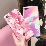 FTAIDKJ 360 Degree Full Body Protection Marble Stone Hard Cover For Iphone 8 Case For IPhone X Case 6S 6 7 8 Plus 5 5S SE Coque