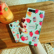 FTAIDKJ Fashion Summer Fruit Strawberry Square Soft TPU Coque Case For IPhone 6 6S 7 8 Plus X Cute Funny Drink Milk Cover Capa