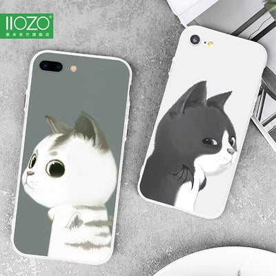 Fashion Cartoon Cat Case For Iphone 7 7plus Shell Black White Cat Hard Back Phone Cases Cover For Iphone 6 6s Plus