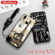 Fashion Cute Cartoon Rubber Hard PC + TPU Back Cover Case For Vivo X21 (6.28 Inch) Shell + Finger Ring Holder +Rope XS01