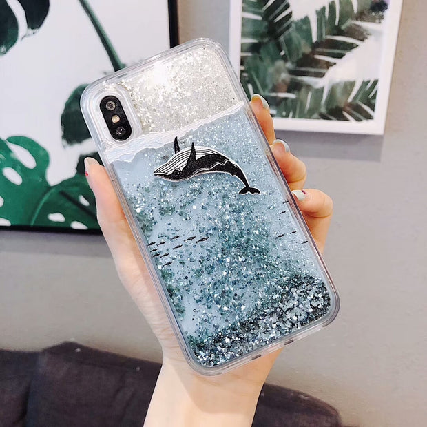Fashion Flash Quicksand Shark Shiny Cover For Xiaomi 5X 6X 8 Redmi 5 Plus Note5 Transparent Silicone Soft Shell Phone Back Cases
