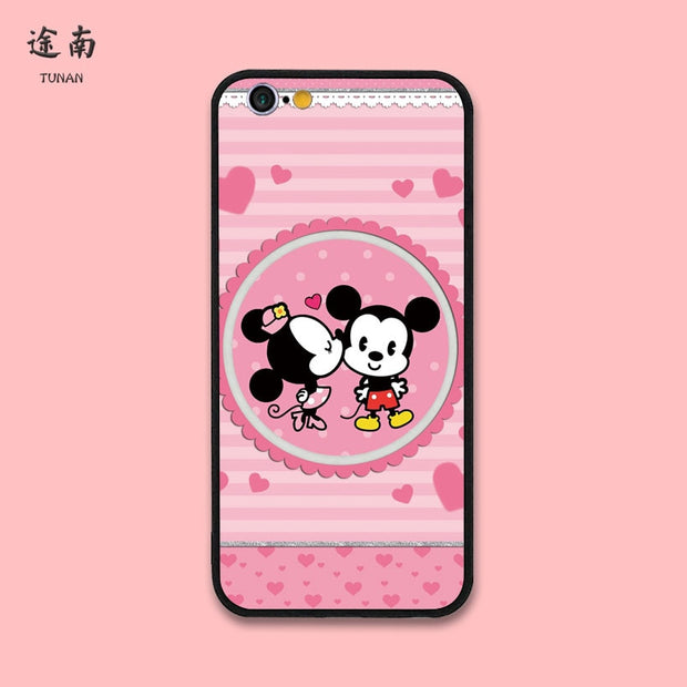 Fashion For Mickey Minnie Mouse Plastic Hard Back Mobile Phone Cases For IPhone 6 7 8 Plus / 7plus/6 Plus IPhone X Pink Cute