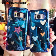 Fashion Laser Glossy Blu-Ray Phone Case For Samsung Galaxy S7 Edge S8 S9 Plus Note8 Cool Heart Stars Soft IMD Back Cover Case