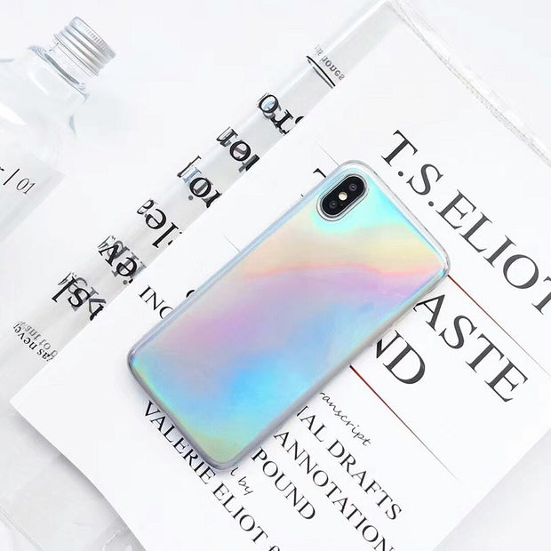 Fashion Laser Rainbow Dot Stripe Holographic Mirror Laser Shockproof Phone Case For IPhone 6 6S 7 8 Plus X Soft TPU Glass Cover
