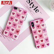 Fashion Luxury Grid Love Heart Phone Case For IPhone X Case For IPhone 6 6S 7 8 Plus Cover Retro Blu-ray Cases Cute Cartoon Capa