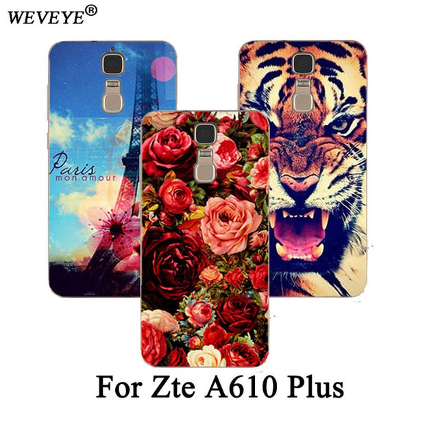 big sale 53609 41b67 Fashion Luxury Pattern Phone Case For ZTE Blade A610 Plus Case 5.5''  Painting Flower Animals And Eiffel Tower Cover A610 Plus
