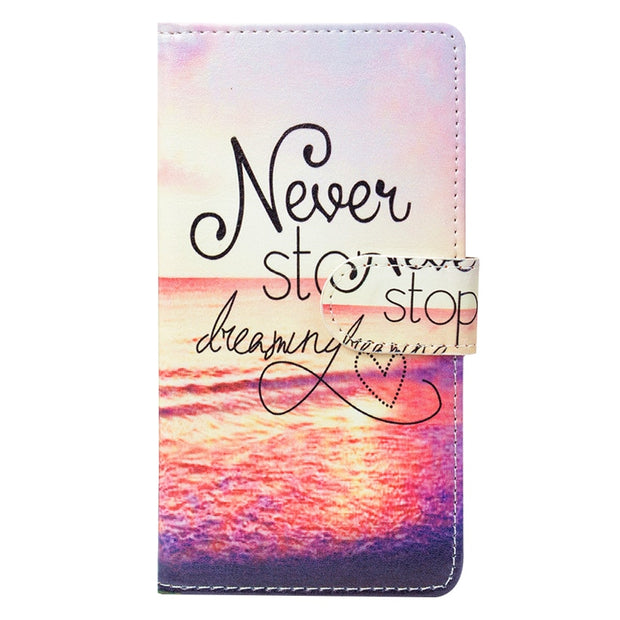 "Fashion PU Leather Flip Print Wallet Case For BQ BQ-5056 Fresh Case Cover Book Case 5.0"" Ultra-thin Phone Cover"