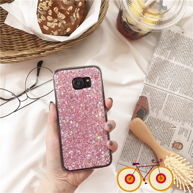 Fashion Silicone Coque For Samsung S6 S7 Edge S8 S9 Plus Fundas Colorful Bling Glitter Soft TPU Phone Cases For Galaxy Note 8