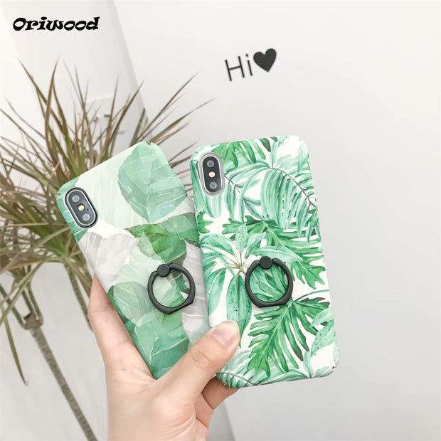Fashion Simple Tropical Forest Green Plants Full Protection Ring Bracket Back Cover For IPhone 6 6S Plus 7 8 Plus X 10 Coque