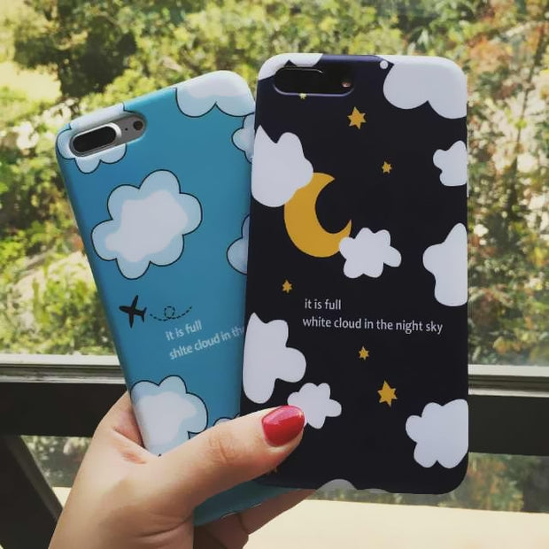 Fashion White Cloud Night Sky TPU Soft Silicone Couple Phone Cases For IPhone 7Plus 6 6s Case Full Protective Cover For IPhone7