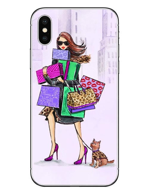 the latest 6ee97 7e27a Fashion Shopping Sports Girl Walk The Dog Phone Case For IPhone 5 5S SE 6  6s Plus 7 7Plus 8 8Plus X 10 Hard PC Cover