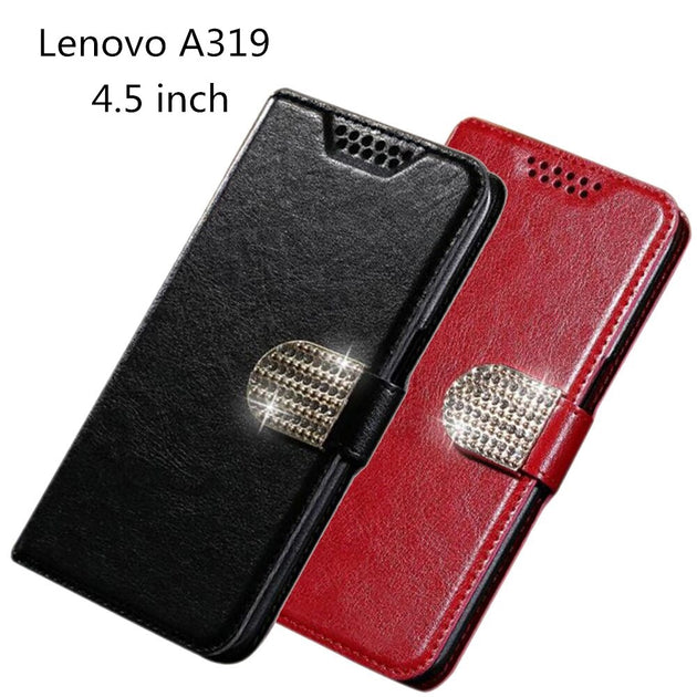 Flip Cover For Lenovo A319 Phone Cases PU Leather Case For Lenovo A 319  Skin Phone Case Book Style Wallet With Card Slots Holder