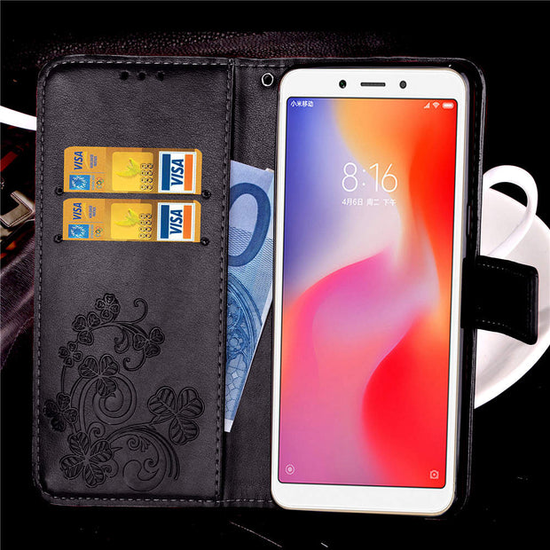 Flip Wallet Leather Case High-grade PU Cover With Card Slot Free Lanyard Mobile Phone Case For Xiaomi Redmi 6 6A 6 PRO 6PRO Case