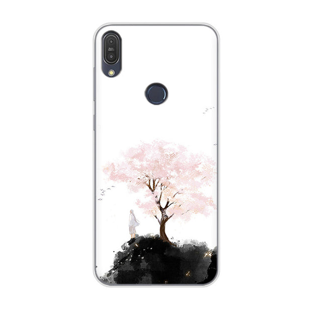 f80ab4f9cb6 For ASUS Zenfone Max Pro M1 ZB602KL Case Mountains Bamboo Flower Color  Painting Cover For Asus