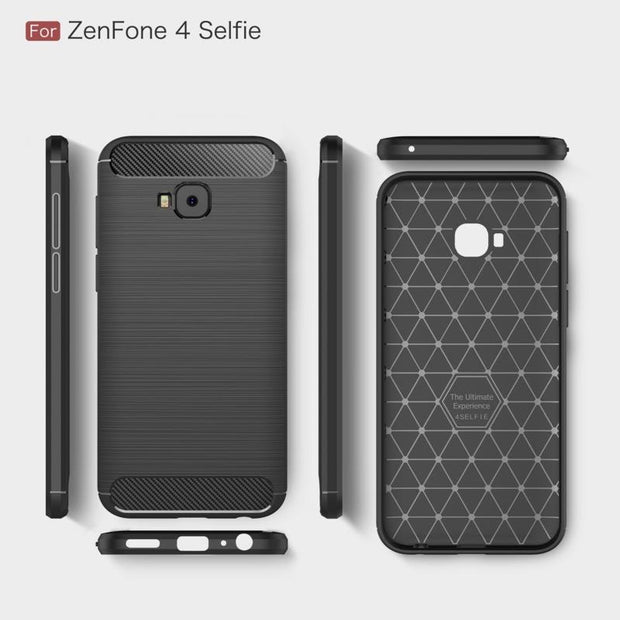 For Asus ZenFone 4 Selfie Pro ZD552KL Case Luxury Shockproof Silicone Carbon Fiber Hybrid TPU Cases For Asus ZenFone 4 Selfie