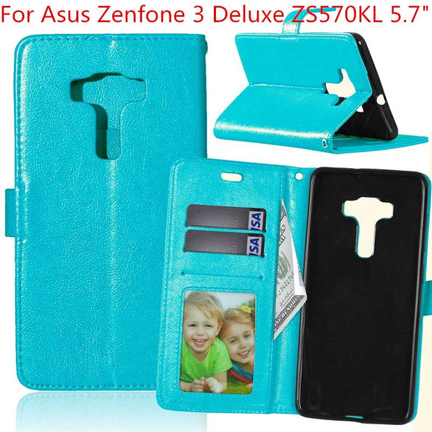 "For Asus Zenfone 3 Deluxe ZS570KL 5.7"" Retro Crazy Horse Pattern Flip Cover Coque Capinha Wallet Leather Case With Stand Fundas"