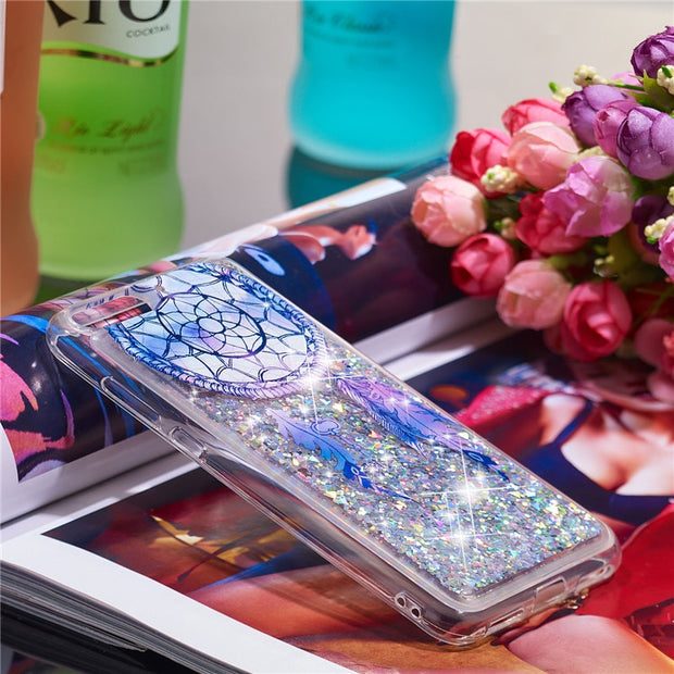 For Coque Huawei Honor 7A Pro Case Dynamic Liquid Glitter Silicone Soft TPU Case Cover SFor Fundas Huawei Y6 2018 Phone Cases