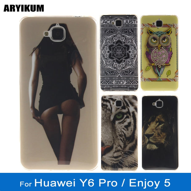 For Coque Huawei Y6 Pro Tit-al00 Soft Silicone Case Animal Painted Funda  Back Phone Cover For Huawei Y6Pro Enjoy 5 TPU Shell Bag