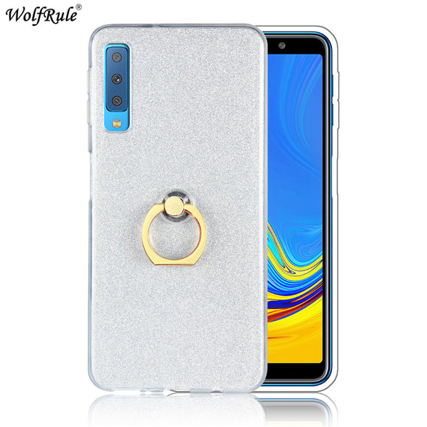 For Cover Samsung Galaxy A7 2018 Case Ring Holder Bling