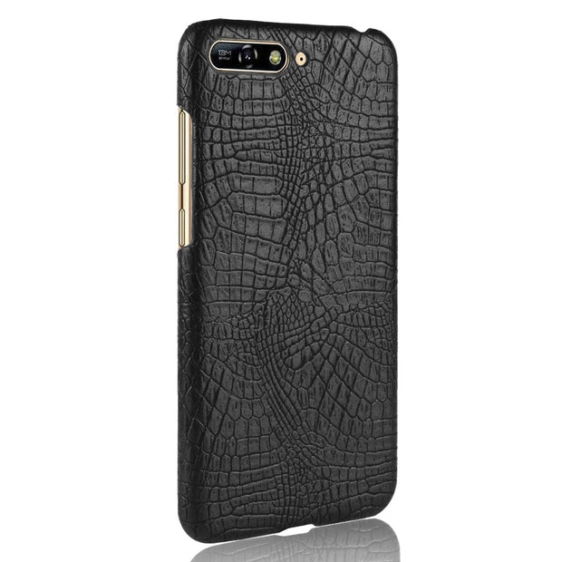 For Huawei Honor 7A (AUM-AL00)/Y6 2018 Case Crocodile Skin Texture Hard Leather Back Cover Shield Smart Phone Protective Shell