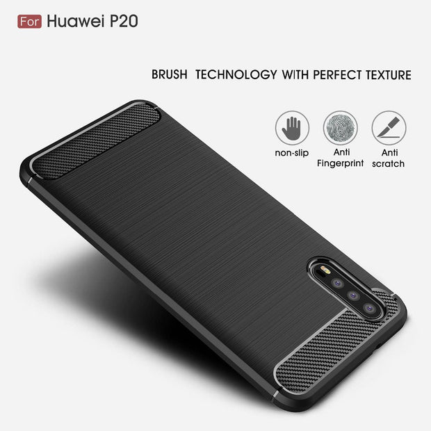 For Huawei P20 Case Silicone Phone Cases For Coque Huawei P20 Plus Case Cover Back Soft TPU Luxury Carbon Fiber Shockproof Bags