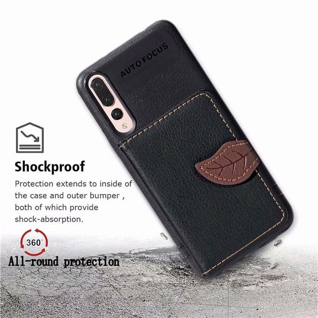 For Huawei P20 Lite Case Luxury Leaf Wallet Silicone Card Slots Cover For Huawei P20 P20 Pro Flip Magnetic Stand Leather Case