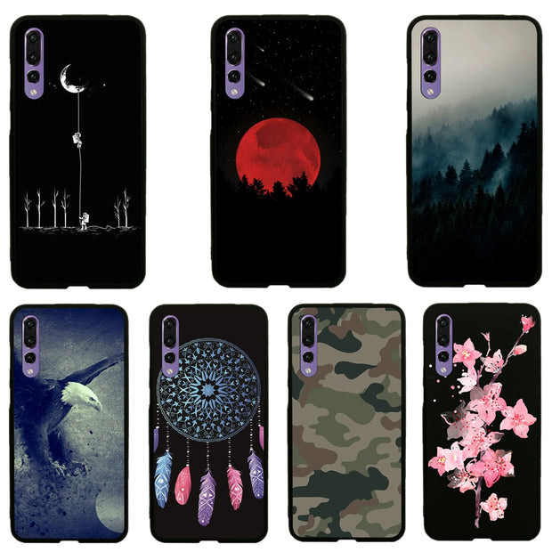 "For Huawei P20 Pro 6.1"" Phone Case JLNYU Luxury Matte Silicone Soft Shell For Huawei P20 Pro Black Fashion Cute Back Cover Cases"