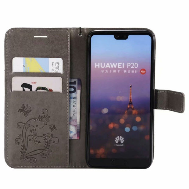 For Huawei P20 Wallet Case Embossed PU Leather Magnetic Flip Cover Card Holders Hand Strap Purse Case For Huaiwei P20 Pro P9 P10