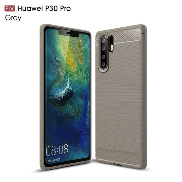 For Huawei P30 Pro Soft Silicone Carbon Fiber Armor Shockproof Cases F Charcoal Cases