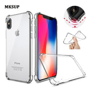 For Iphone X IphoneX Anti-knock Case Colored Transparent Silicone Tpu Skin Soft Back Cover Case For Iphone X Anti Dropping Cover