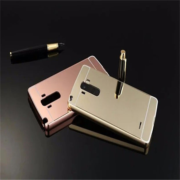 super popular 6cced 66313 For LG G4 Stylus Case Luxury Mirror Aluminum Back Cover For LG G4 Stylus/G4  Note/G Stylo LS770 Metal Plating Frame Phone Shell